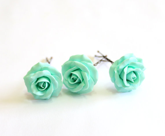 Wedding - Mint Rose set, Flower Accessories, Mint Rose Wedding Hair Accessories, Wedding Flower Hair, Bridal Flower Hair Pin, Bridal Headpiece set