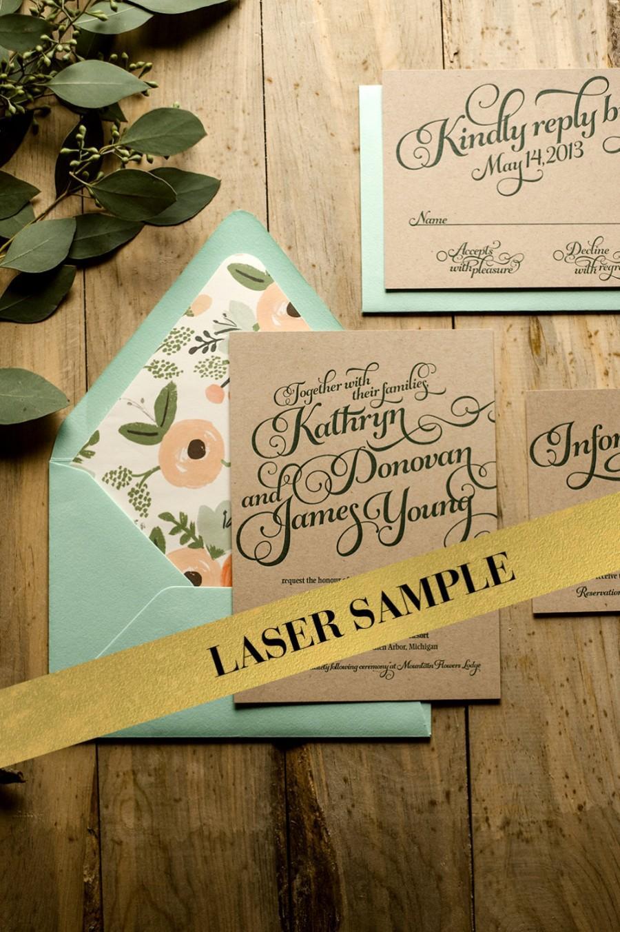 Wedding - Rustic Wedding Invitation, Mint & Kraft Wedding Invite, Rustic Wedding Invite, Calligraphy Invitation - LASER PRINTED Sample Set