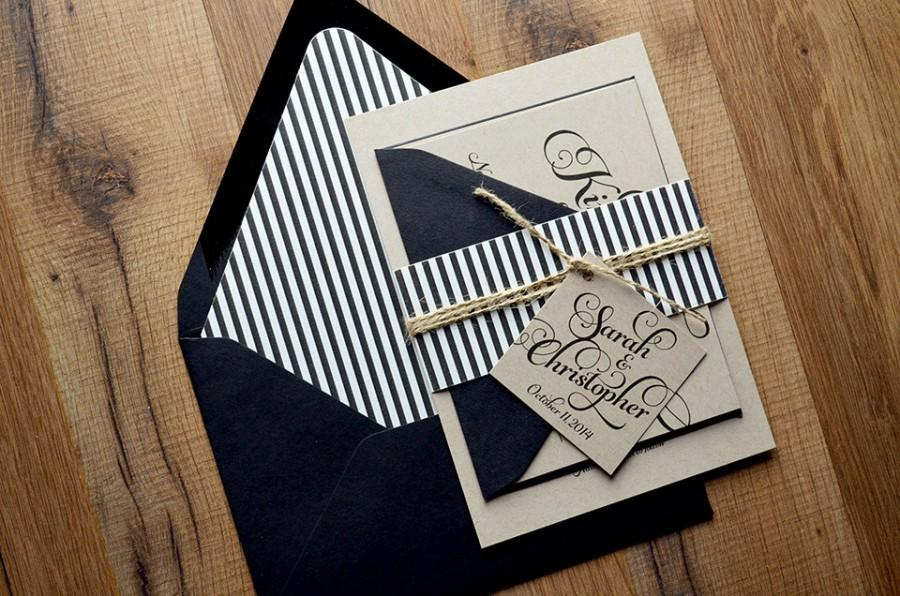 Mariage - Rustic Wedding Invitation, Black & Kraft Wedding Invite, Rustic Wedding Invite, Calligraphy Invitation - LASER PRINTED Sample Set