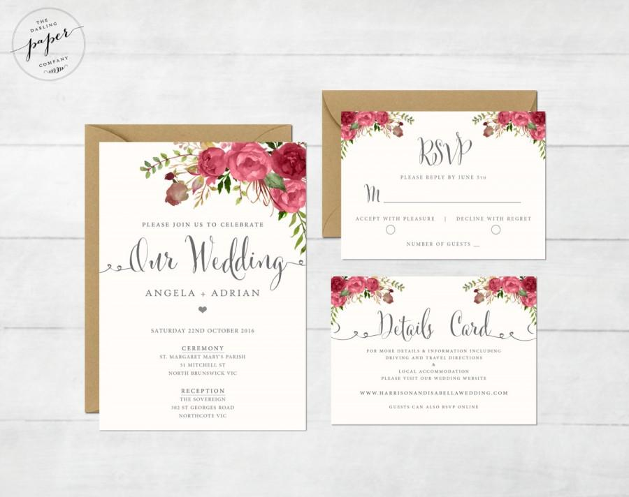 Fl Wedding Invitation Printable Suite Rustic Invite Boho Peonies Iii Red