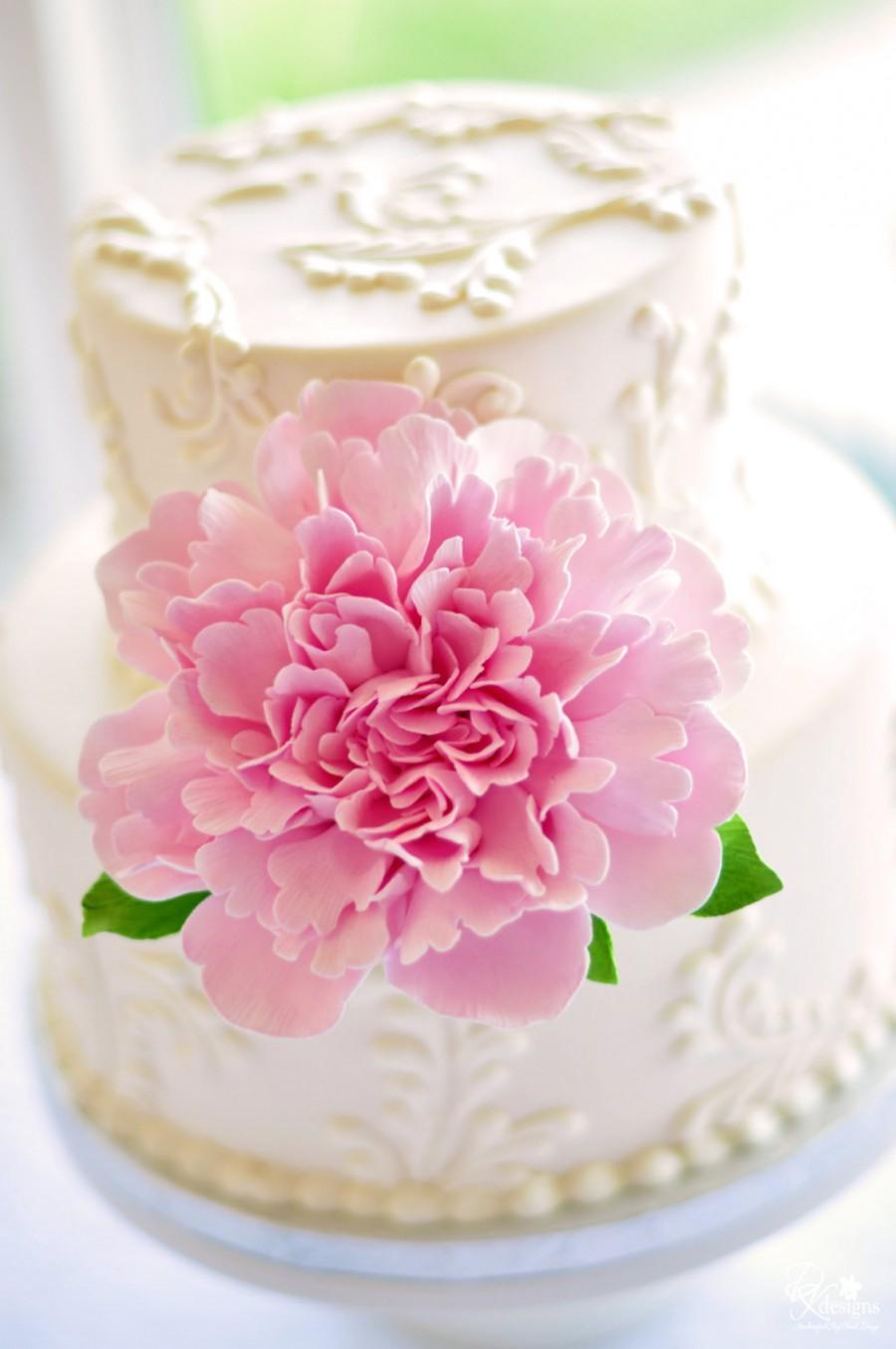 Mariage - Made to Order Frilly Peony Clay Cake Flower with Leaves