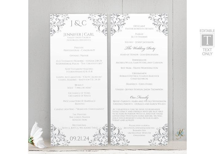 Hochzeit - Wedding Program Template (Tea-Length)