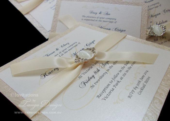 White gold wedding invitations timeless invites w czech for Pearl wedding invitations