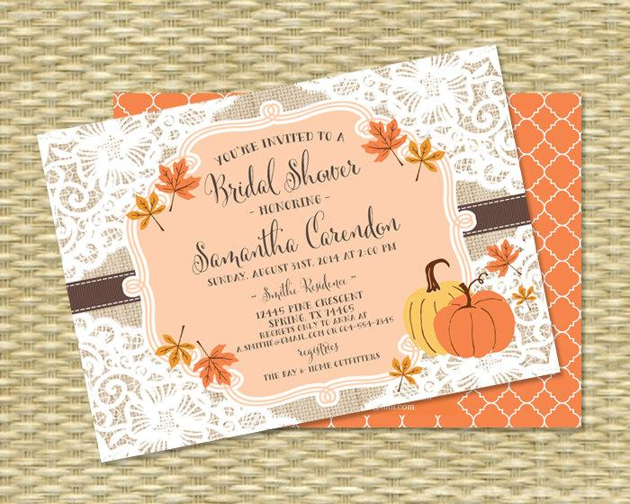 fall bridal shower invitation burlap lace fall into love bridal shower invite fall leaves autumn pumpkins country style any event