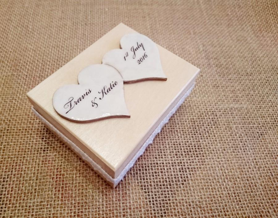 Hochzeit - Wedding rings box/engagement ring box, wedding pillow rustic cotton lace wooden box natural delicate