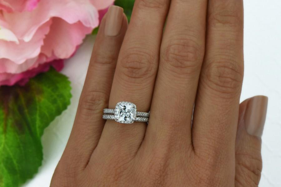 Hochzeit - 2 ctw Princess Cut Bridal Set, Classic Halo Wedding Ring, Man Made Diamond Simulants, Engagement Ring, Wedding Set, Sterling Silver