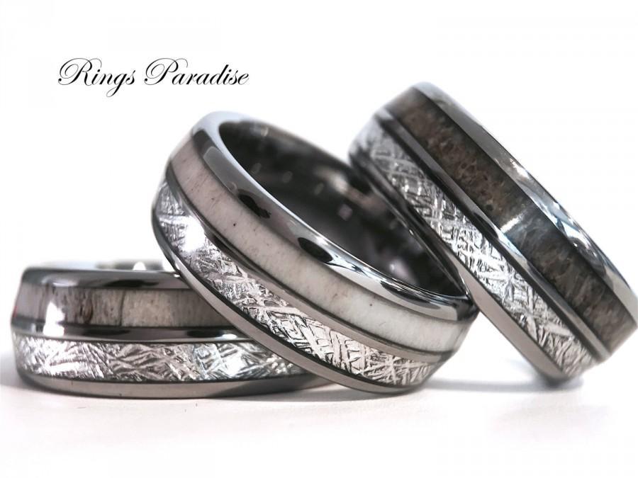 Antler Elk Wedding Band Meteorite Inlay Tungsten Ring Engagement