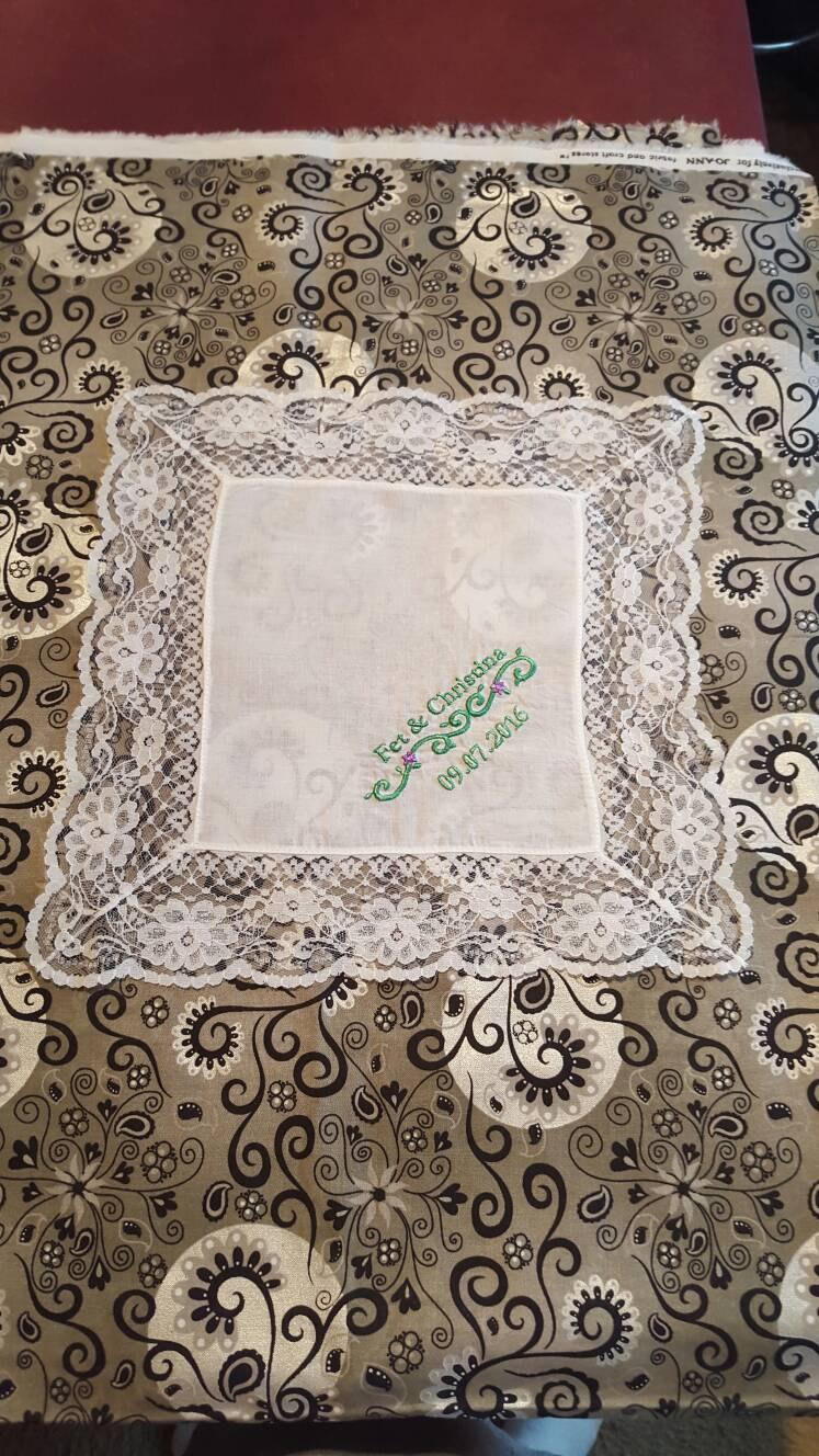 Wedding - Bride's Lace Handkerchief Custom Embroidered - Add Your Own Special Saying - Great Gift For Your Daughter On Her Wedding Day