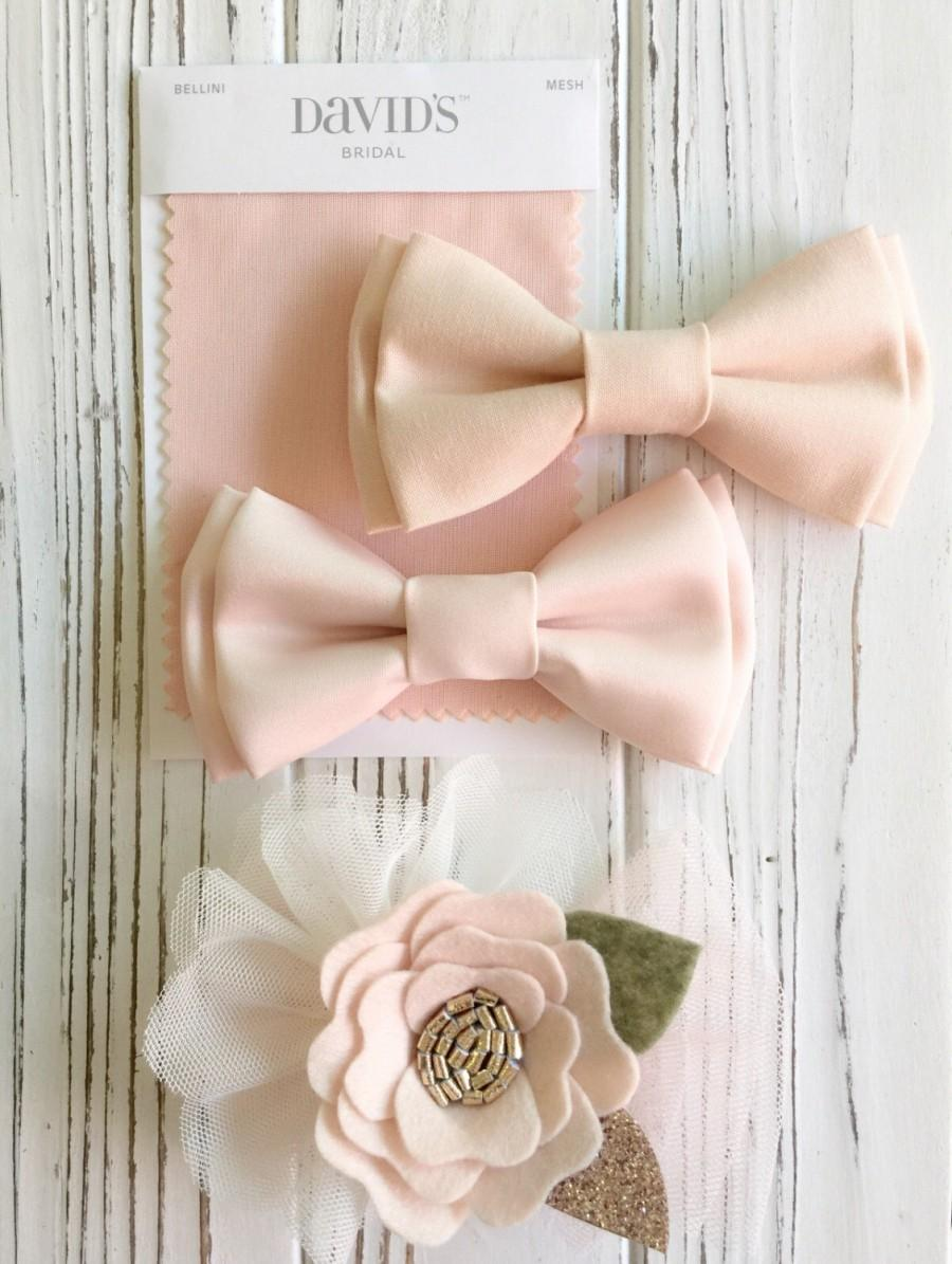 Wedding - Peachpuff satin bowtie - light peach bowties - wedding bow ties- Groomsmen bowties - Ring bearer's bowtie - peach blush bowtie