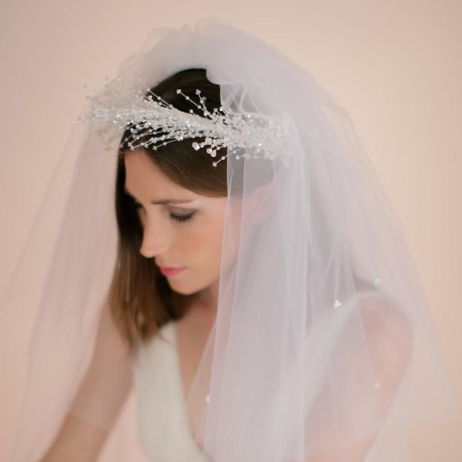 Düğün - Swarovski Crystal Wreath with Veil, Bridal Crystal Crown and Veil, Bridal Veil, Complete Headpiece, Style No. 1509