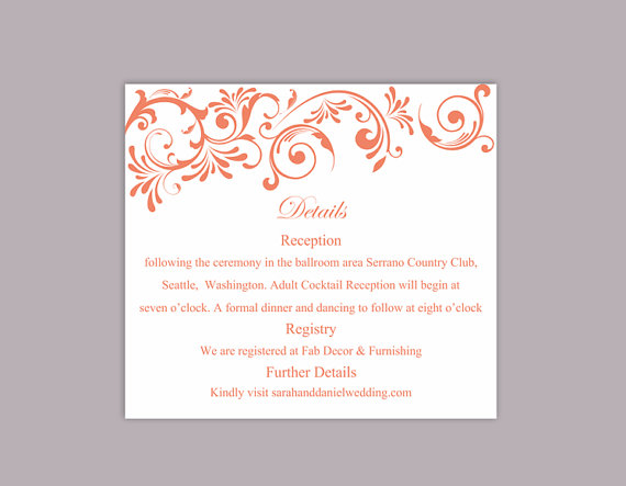 Mariage - DIY Wedding Details Card Template Editable Word File Instant Download Printable Details Card Red Orange Details Card Elegant Enclosure Cards
