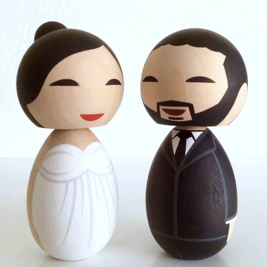 Свадьба - Wedding kokeshi doll cake topper set. Fully customizable.