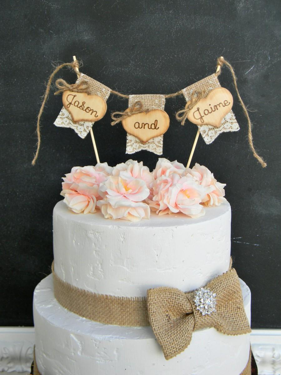 Names Personalized Wedding Cake Topper Burlap & Lace Bunting Flags ...