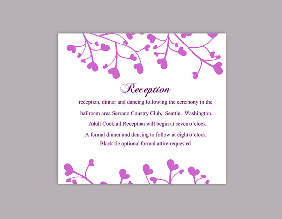 Wedding - DIY Wedding Details Card Template Editable Word File Instant Download Printable Details Card Purple Details Card Elegant Information Cards