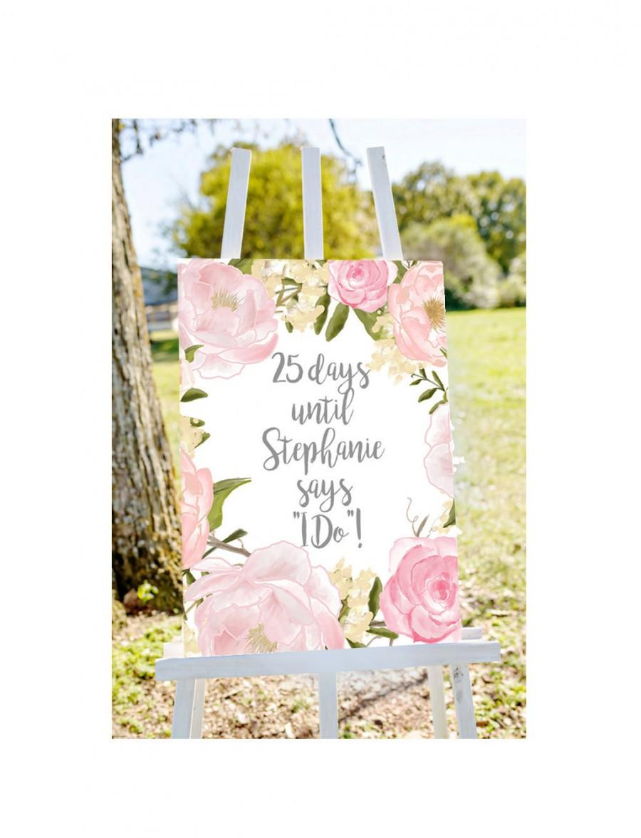 Wedding Countdown Sign Countdown To Wedding Sign Shower Count Down Sign Days Until She Says I Do Personalized Bridal Shower Sign