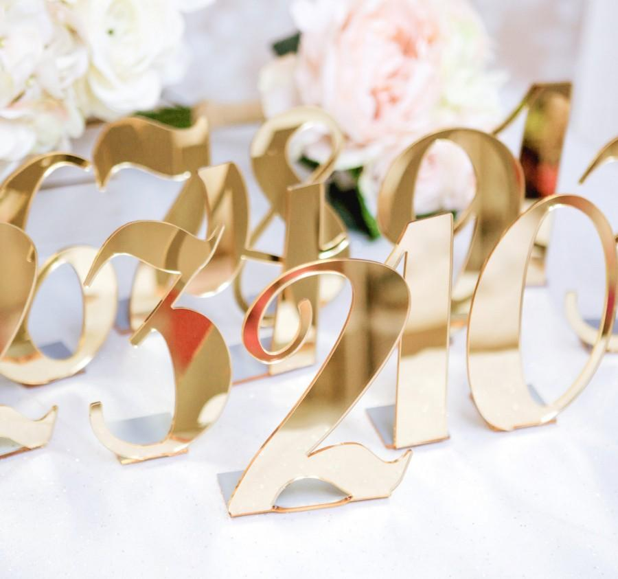 Mariage - Acrylic Table Numbers for Weddings and Events - Standing Numbers Gold, Silver, Clear Acrylic Chic Wedding Decor Centerpieces (Item - ACB100)