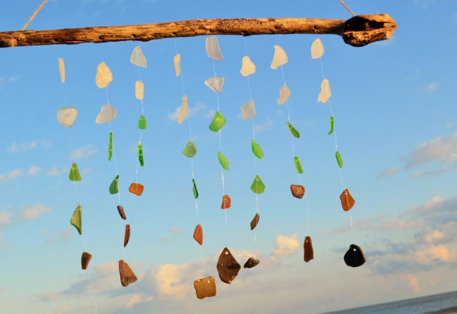 Wedding - Sea Glass Wind Chime ~ Gift Idea for Couples, Housewarming, Beach Loving friends ~ Christmas present idea for the person who has everything