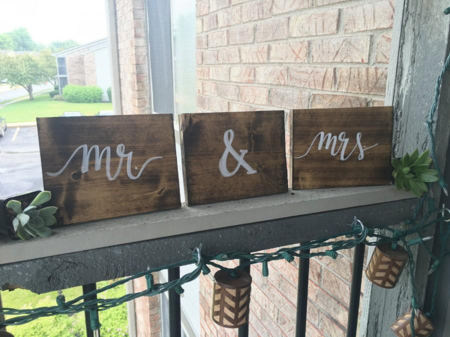 Mr Mrs Wooden Blocks Wedding Signs Rustic Calligraphy Decor