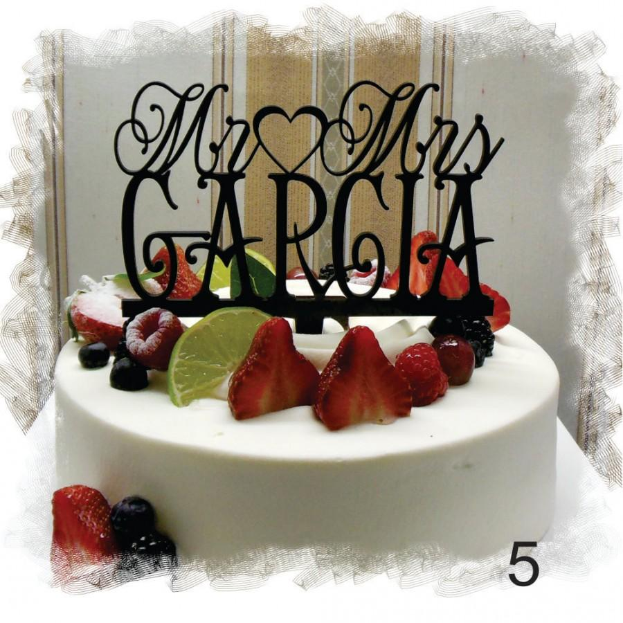 Свадьба - Wedding  Monogram Cake Topper , Mr and Mrs  With Your Last (Family)Name  - Personalized Wedding Cake Topper
