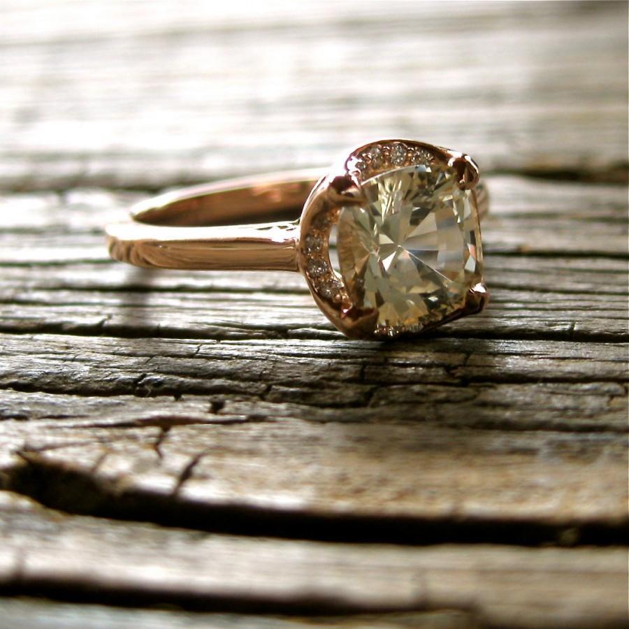 زفاف - Cushion Cut White Sapphire Engagement Ring in 14K Rose Gold with Diamonds in Halo & Scrolls on Basket Size 6