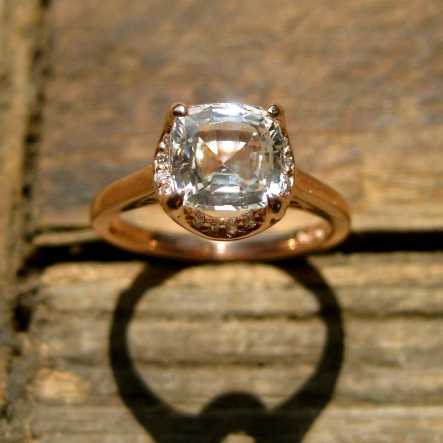Mariage - White Sapphire Engagement Ring in 14K Rose Gold with Diamonds & Scrolls Size 5