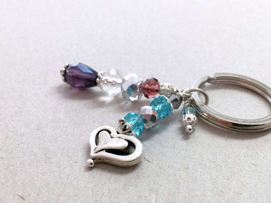 Свадьба - Crystal Keychain, Silver Keychain, Small Keychain, Crystal Wedding Favors, Blue Party Favors, Purple Bag Zipper Charm, Beaded Keychain