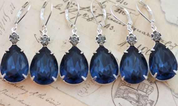 Свадьба - Navy Blue Wedding Set Of 5 Pairs Navy Bridesmaid Earrings Bridesmaids Jewelry Bridal Party Gift Pear Gray Navy Silver Clip On Earrings Avail