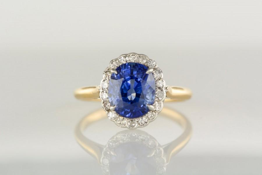 Свадьба - Antique Victorian Diamond Halo, Gold and Platinum Engagement Ring with 3.75 Carat Oval Brilliant Cut Sapphire Center R487