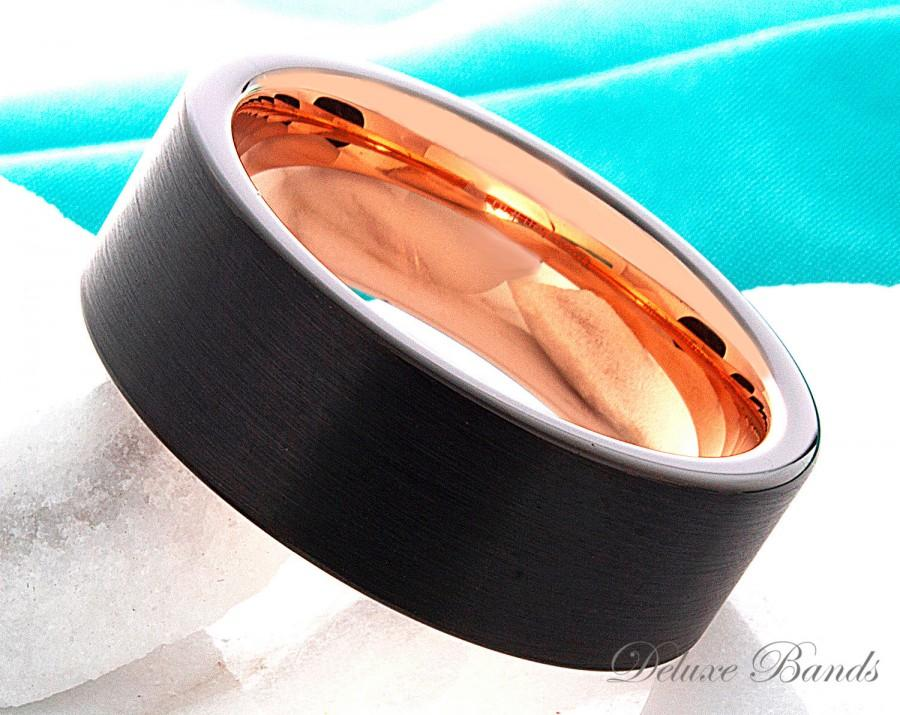 Свадьба - Black Tungsten Ring Rose Gold Wedding Band Ring Tungsten Carbide 8mm 18K Tungsten Ring Man Wedding Band  Women Anniversary Promise His Hers