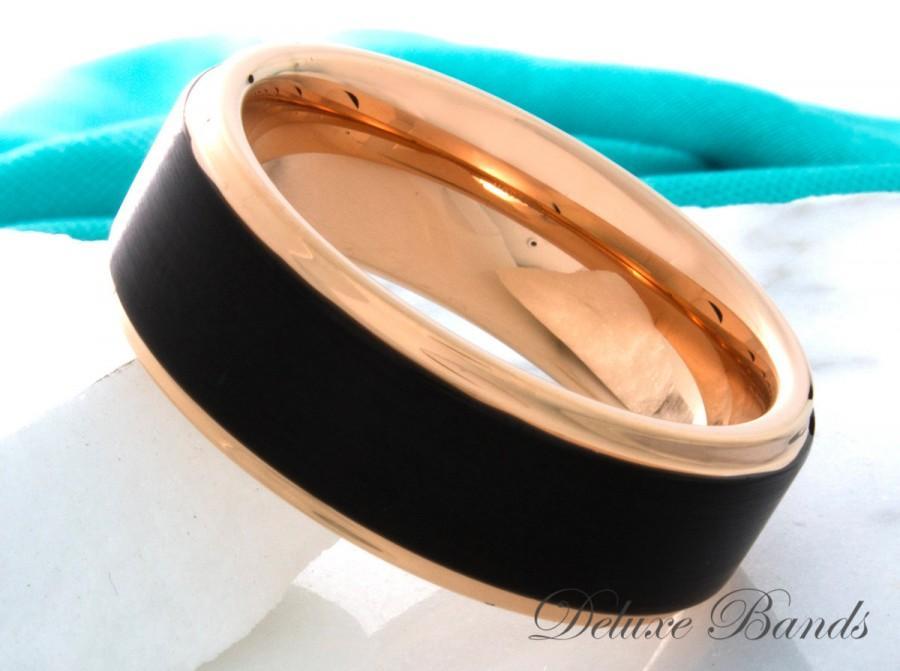 Wedding - Tungsten Ring Rose Gold Black Wedding Band Tungsten Carbide 8mm Mens Womens Tungsten Ring Wedding Band Anniversary Promise Comfort Fit