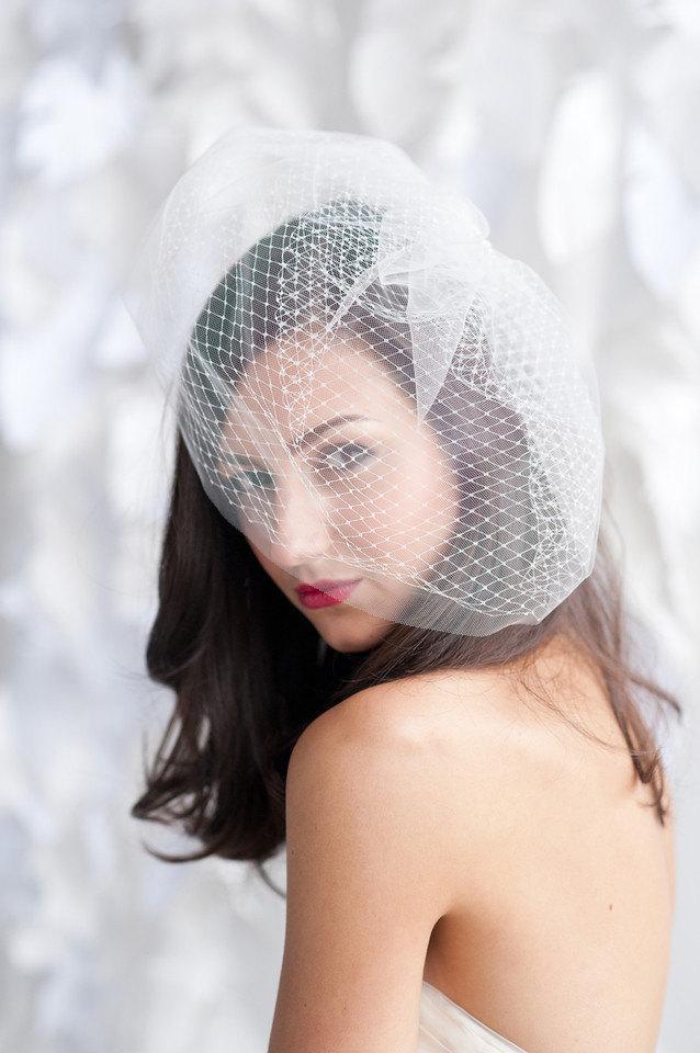 Свадьба - Double layered birdcage veil 14 inch, birdcage veil, tulle birdcage veil - READY TO SHIP