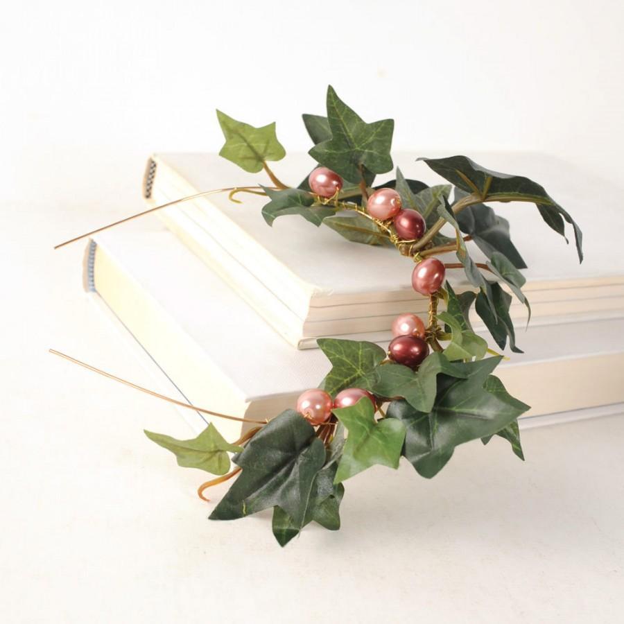 Mariage - Ivy Woodland Crown, Green Leaf Headband, Wedding Hair Piece, Rustic Crown, Medieval Hair Band, Forest WeddingTwig Head Piece, Boho Crown