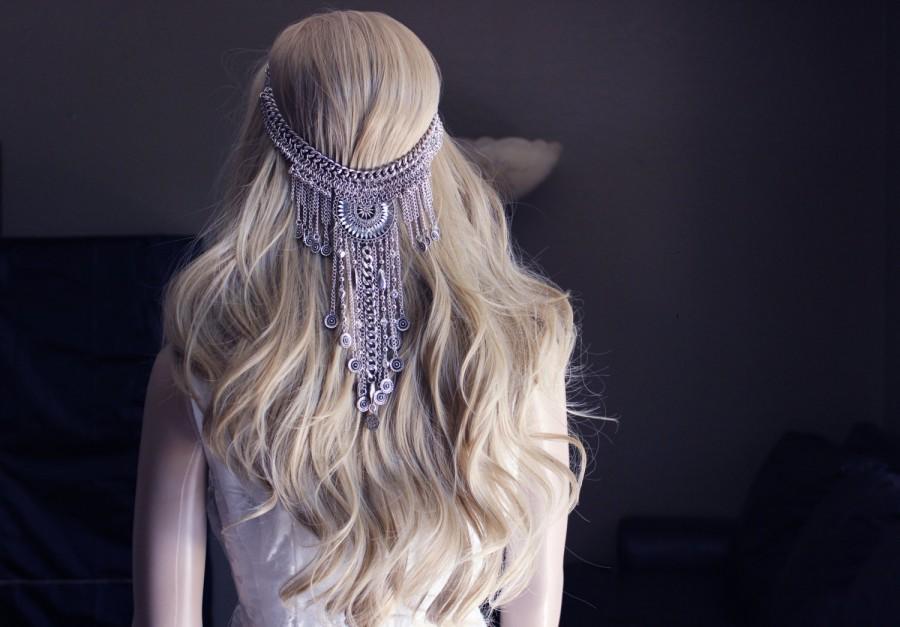 Свадьба - Bride Hair, Boho Hair Piece, Chain Hair, Bohemian Wedding, Beach Wedding, Unique Hair, Costume Jewelry, Belly Dancer, Gypsy