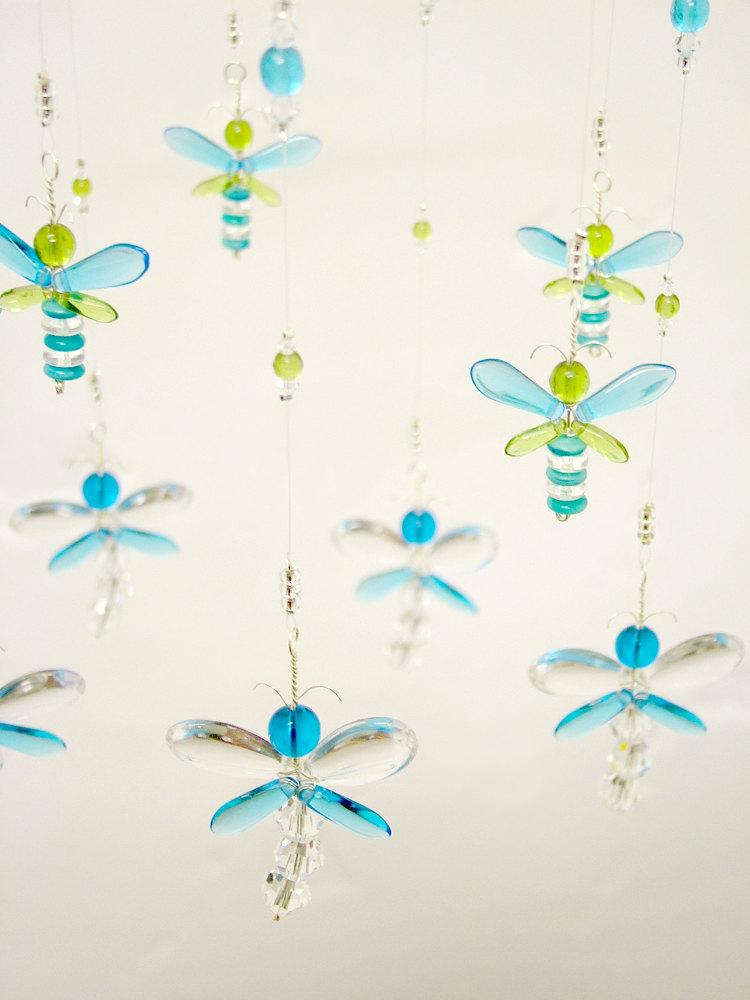 Nursery Mobile Crystal Baby Mobile Baby Shower Gift Crystal Suncatcher Blue  Dragonfly Mobile Firefly Baby Boy Mobile Nursery Decor Xmas Gift