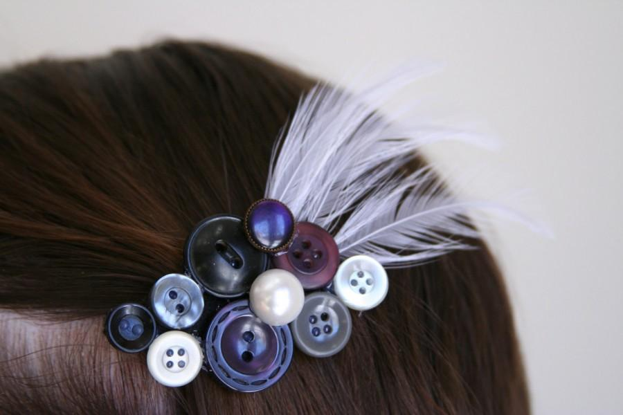 Mariage - WEDDING SALE Wedding Hair Clip - Plum Bridal Hair Clip - made with beautiful buttons