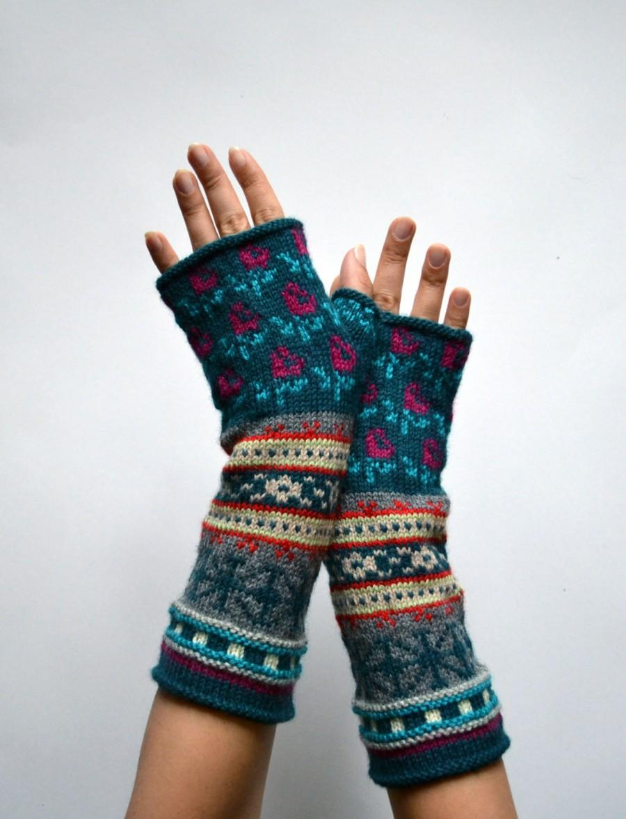 Mariage - Bohemian Fingerless Gloves - Long Turquoise Fingerless Gloves - Floral Groves - Fall Accessories - Fashion Gloves nO 100.