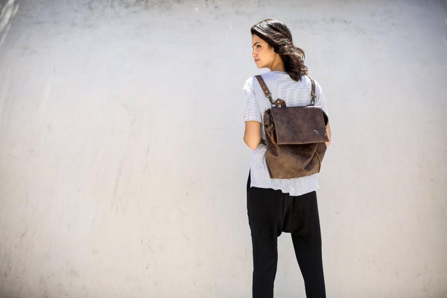 Mariage - Copper Brown Leather Tote Backpack Bag, Laptop Leather Purse, Shoulder Leather Bag, Women Work Bag, Handmade Bag