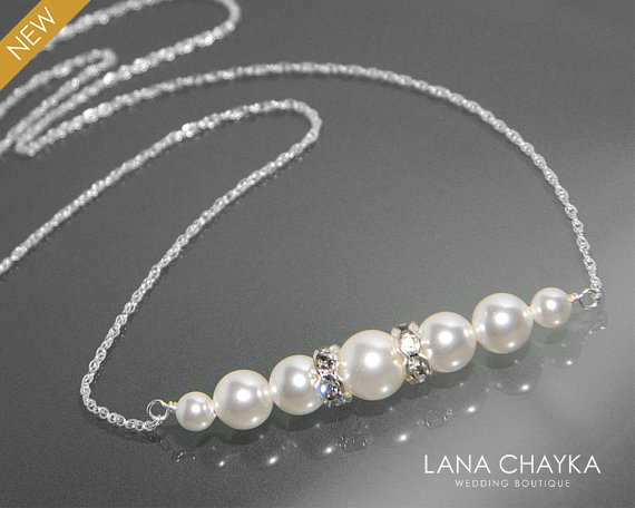 Mariage - White Pearl Bridal Necklace Swarovski White Pearl Delicate Necklace Pearl Sterling Silver Chain Necklace Wedding Necklace Bridesmaid Jewelry