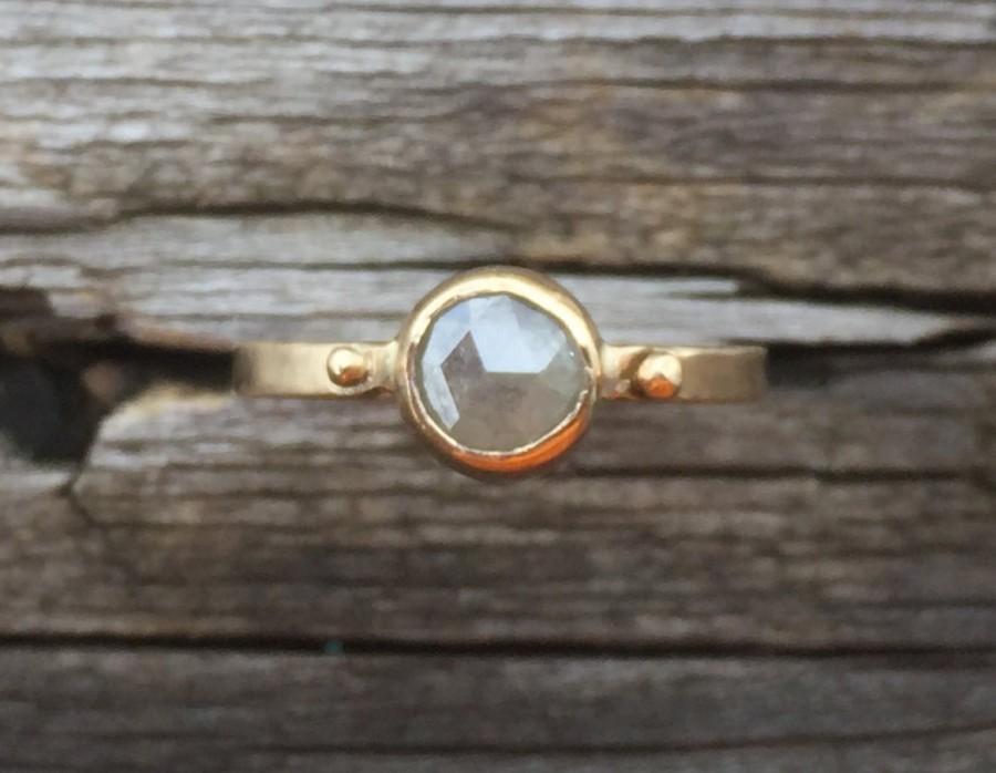 Свадьба - Rose Cut Diamond Ring in 14k Yellow Gold. Unique, silver gray round bezel set diamond engagement ring.