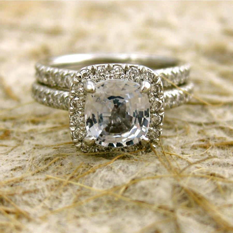 White Sapphire Engagement Ring And Matching Wedding Band With Micro