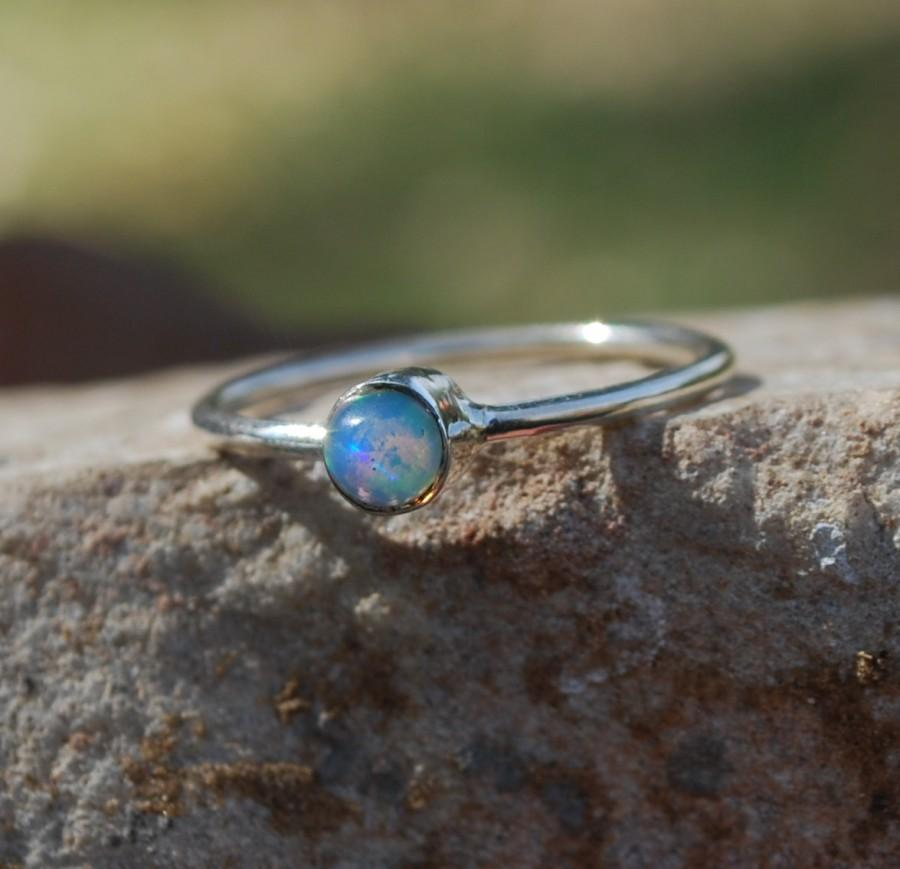 Свадьба - Ethiopian Opal Ring , Natural Opal Ring , 925 Sterling Silver Opal Ring , October Birthstone Ring ,Silver Welo Opal Ring