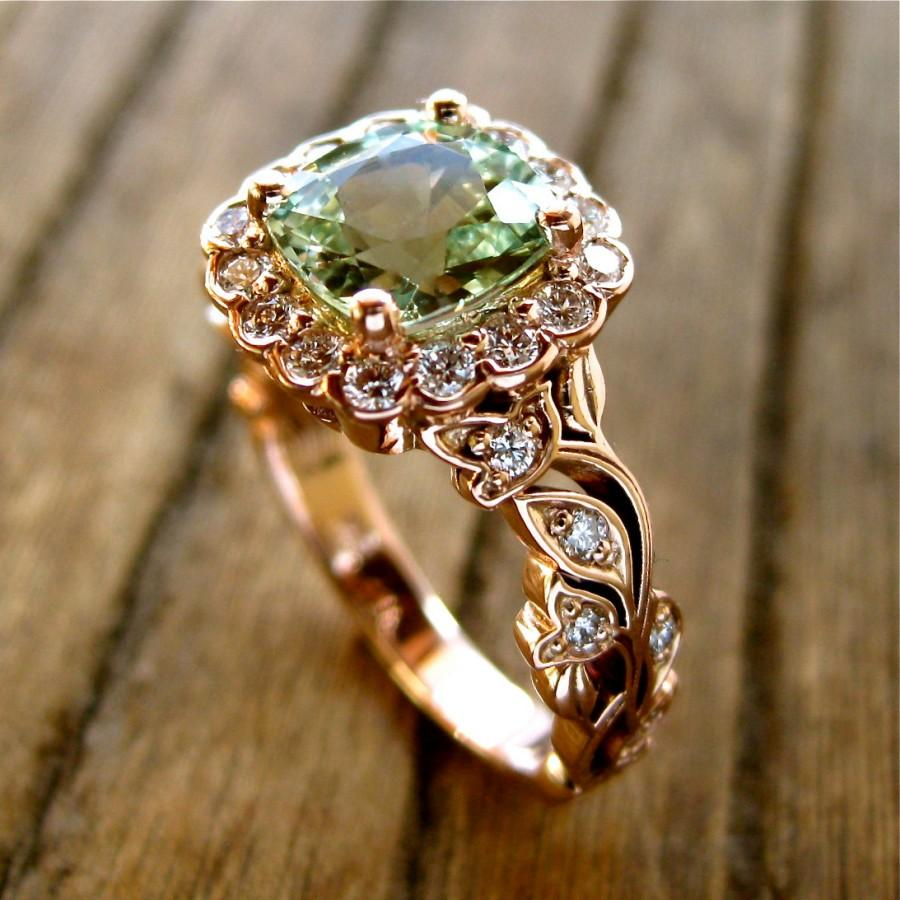 Свадьба - Mint Green Chrysoberyl Engagement Ring in 14K Rose Gold with Diamonds in Flower Buds and Leafs on Vine Size 7