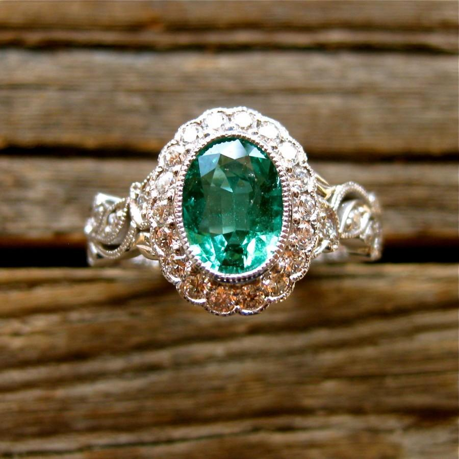 Hochzeit - Oval Green Emerald Engagement Ring in 14K White Gold with Flowers and Leafs on Vine Motif and Diamonds Size 6.5