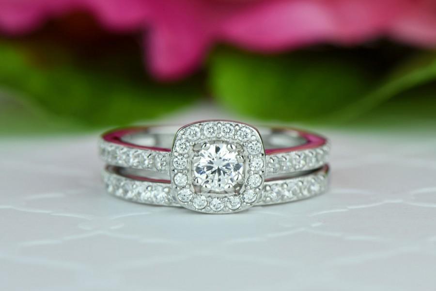 Hochzeit - 1/2 ctw Classic Square Halo Wedding Set, Round Engagement Ring, Man Made Diamond Simulant, Half Eternity Ring, Bridal Set,  Sterling Silver