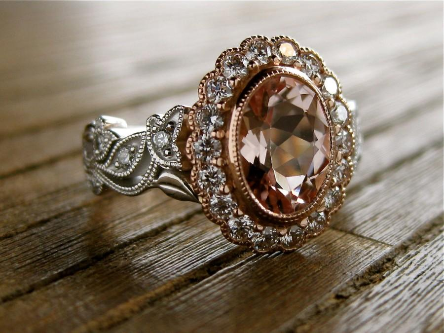 Oval Morganite Engagement Ring In Two Tone 14k White