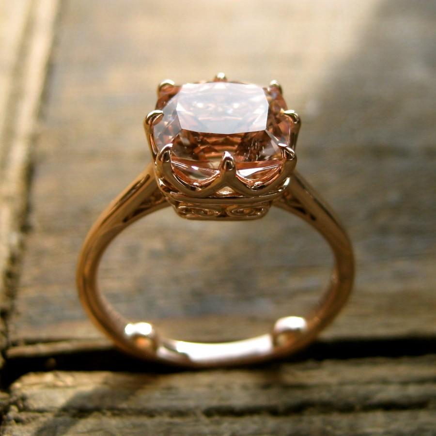 Hochzeit - Checker Board Salmon Colored Morganite Engagement Ring in 14K Rose Gold with Scrolls on Basket Size 7