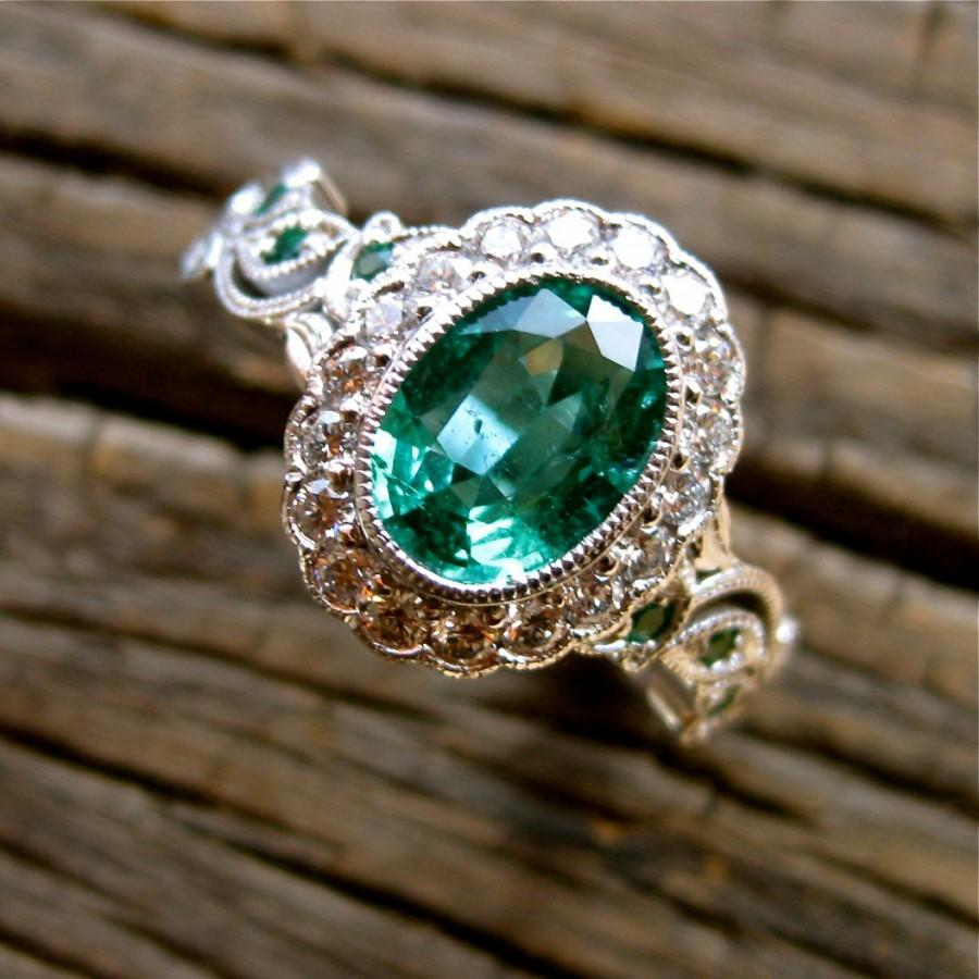 Hochzeit - Green Emerald Engagement Ring in 14K White Gold with Diamonds and Flower Buds & Leafs on Vine Motif Size 6