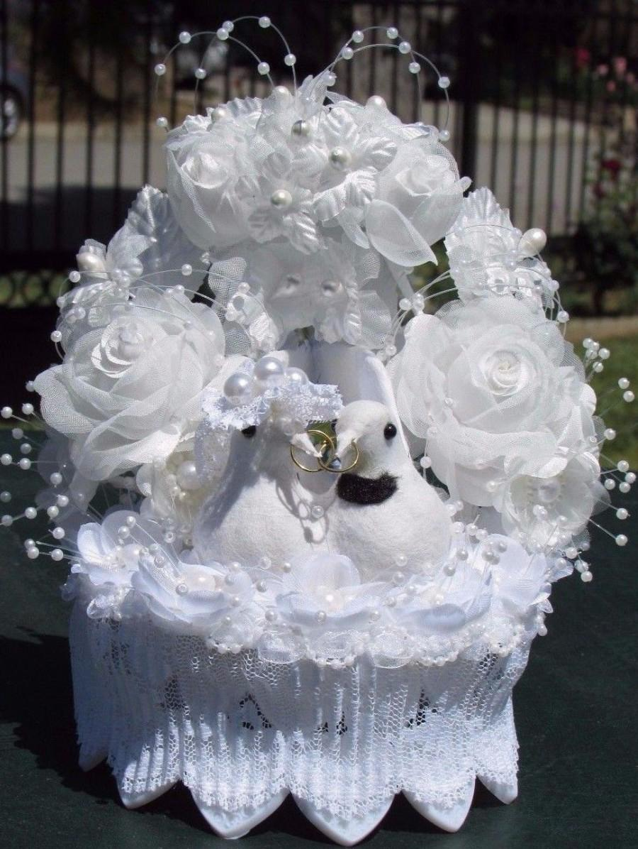 Wedding Cake Toppers White Dove Bird Pearl Flower Rose