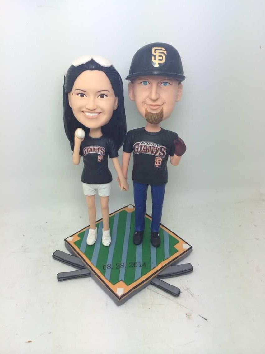 SF Giants Fans Girlfriend Boyfriend Valentines Gift Personalized Clay Figurines Based On Customers Photos Baseball Wedding Cake Topper