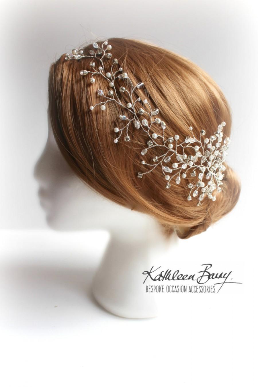 Свадьба - Mich Hairpiece hair vine  - Wedding head piece - Crystal & Pearl, wedding hair accessory, Bridal hair accessories